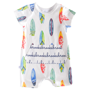 Personalized Shorts Pocket Romper - surf boards
