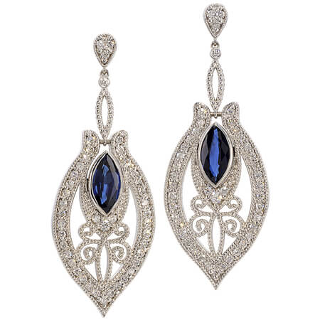 Diamond and Sapphire Earrings in 18KT White Gold