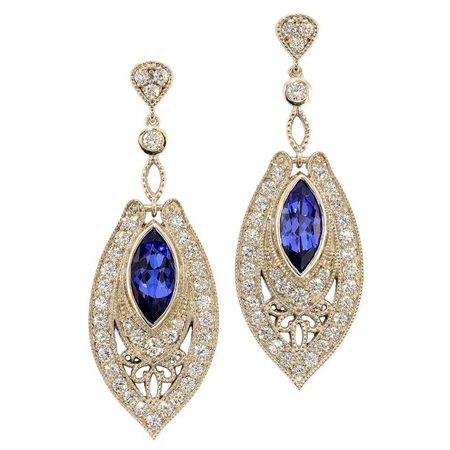 Diamond and Tanzanite Dangling Earrings in 18 KT White Gold