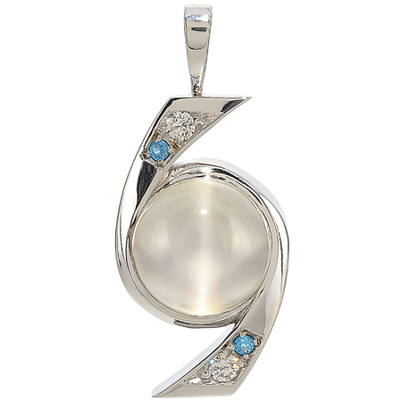 Cat's Eye Moonstone, Apatite and Diamond Pendant in 14 KT White Gold
