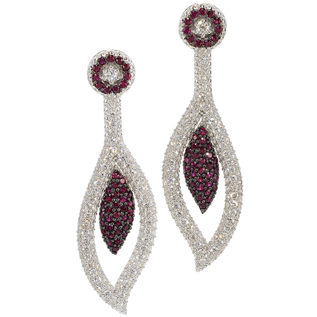 Ruby and Diamond Earrings in 18kt White Gold