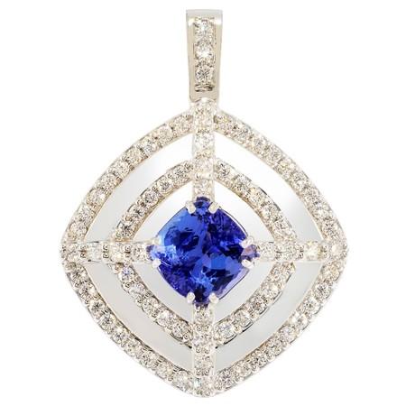 Diamond and Tanzanite Pendant in 18 KT White Gold