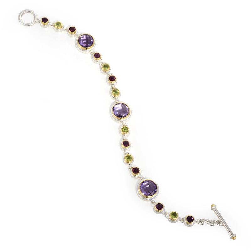 Vermeil Link Bracelet with Gemstones