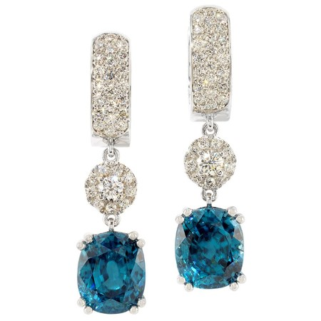 Zircon and Diamond Hoop-style and Dangle Earrings in 18 KT White Gold