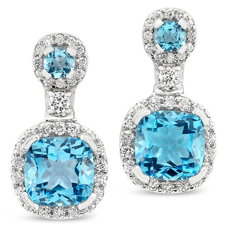 Post & Friction Backs; Blue Topaz stones 8.64 cts; Diamonds 1.10 cts - details below