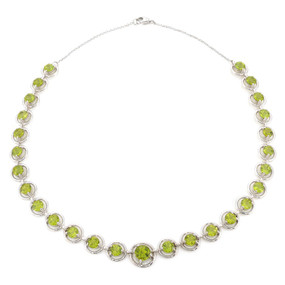 Peridot Gemstone Necklace in 14 KT White Gold