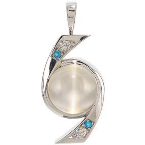 Pendant only; Cat's Eye Moonstone 13.45 cts; Apatites 0.08 cts; Diamonds 0.20 cts - details below