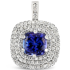 Pendant only; Tanzanite center stone 10.10 cts; Diamonds 2.68 cts - details below