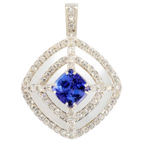 Pendant only; Tanzanite center stone 4.54 cts; Diamonds 1.63 cts - details below