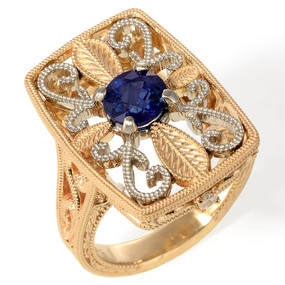 Sapphire and Diamond Cocktail Ring in 14 KT White and Yellow Gold