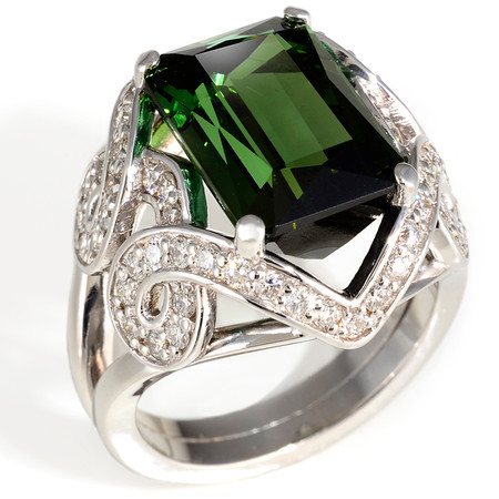 Tourmaline and Diamond Cocktail Ring in 18 KT White Gold