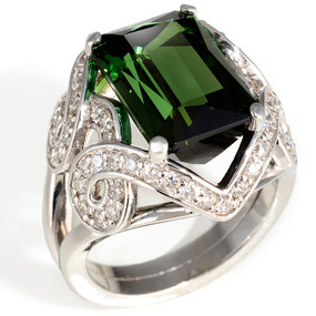 Size 6 1/2; Green Tourmaline center stone 7.00 cts; Diamonds 0.77 cts - details below