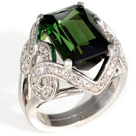 Size 6 1/2; Green Tourmaline center stone 7.00 cts; Diamonds 0.77 cts - details below