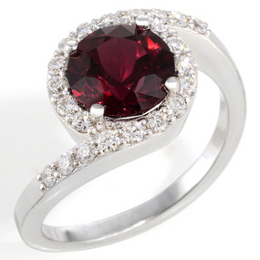 Rhodolite Garnet and Diamond Cocktail Ring in 14 KT White Gold