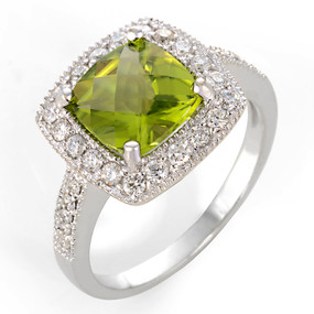 Peridot and Diamond Cocktail Ring 14 KT White Gold