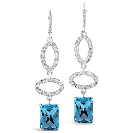Lever Backs; Blue Topaz stones 15.67 cts; Diamonds 0.87 cts - details below