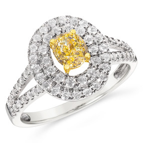 Size 7; 0.73 ct GIA certified fancy intense yellow diamond; Ring TCW 1.34 cts - details below