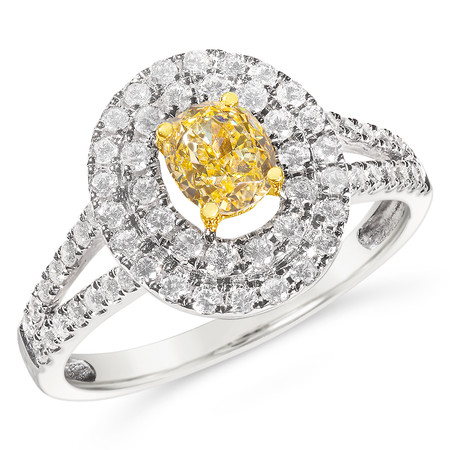 Size 7; 0.73 ct GIA certified fancy intense yellow diamond; Ring TCW 1.34 cts - details below