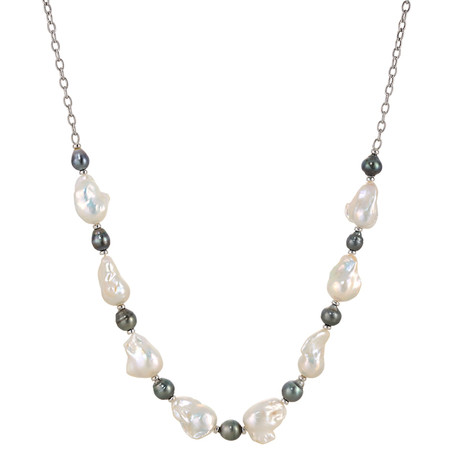 28 INCH GREY TAHITIAN AND WHITE FRESHWATER CULTURED PEARL NECKLACE IN 14 KT WHITE GOLD
