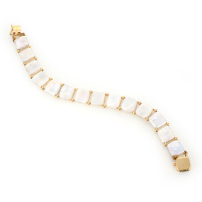 WHITE FRESHWATER CULTURED PEARL AND 14 KT YELLOW GOLD LINE BRACELET