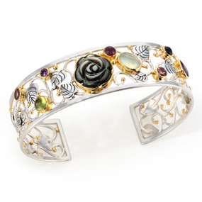 GEMSTONE, MOTHER OF PEARL AND VERMEIL (STERLING SILVER & 22 KT YELLOW GOLD ACCENTS) CUFF BRACELET