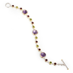 ~ 8 inches in length; Amethysts, Rhodolite Garnets & Peridots TCW 9.33 cts -details below