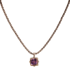 AMETHYST PENDANT AND CHAIN NECKLACE SET IN 18 KT YELLOW GOLD AND STERLING SILVER COATED WITH BLACK RHODIUM