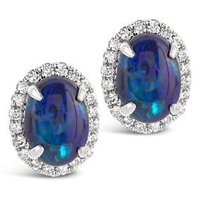 Post & Friction Backs; Black Opals 1.54 cts; Diamonds 0.27 cts - details below