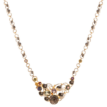 GEMSTONE, MOTHER OF PEARL AND VERMEIL (STERLING SILVER & 22 KT YELLOW GOLD ACCENTS) NECKLACE