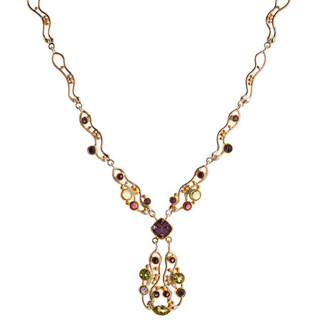 GEMSTONE AND VERMEIL (STERLING SILVER & 22 KT YELLOW GOLD ACCENTS) NECKLACE