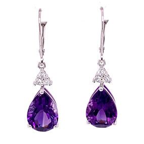AMETHYST AND DIAMOND TEAR DROP EARRINGS IN 14 KT WHITE GOLD