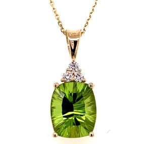 20 inch chain; Peridot 4.18 cts; Diamonds 0.12 cts - details below