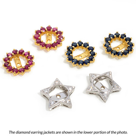 Star-Shaped Diamond Earring Jackets In 18 KT White Gold