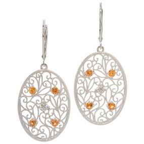 Montana Orange Sapphire And Diamond Earrings In 14 KT White Gold