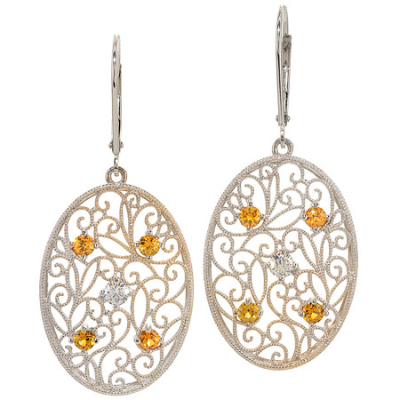 Montana Yellow Sapphire And Diamond Dangling Earrings In 18 KT White Gold