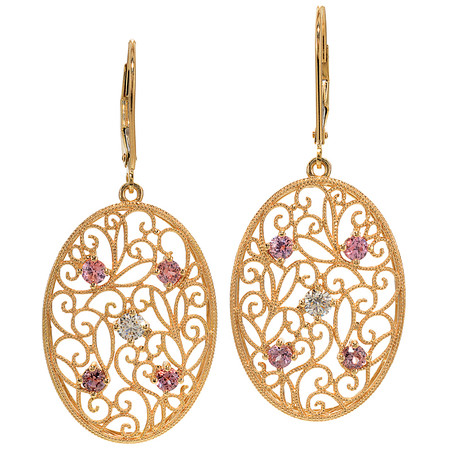 Montana Pink Sapphire And Diamond Dangling Earrings In 18 KT Yellow Gold