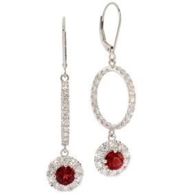 Oregon Sunstone and Diamond Hoop and Dangle Earrings in 18 KT White Gold