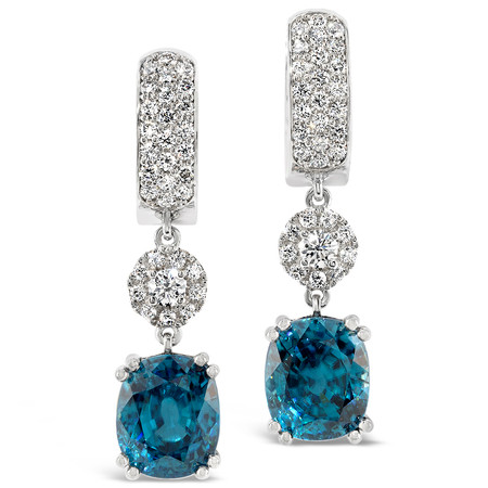 Pierced ears; hinged with post & catch; Zircons 13.29 cts; Diamonds 1.03 cts - details below