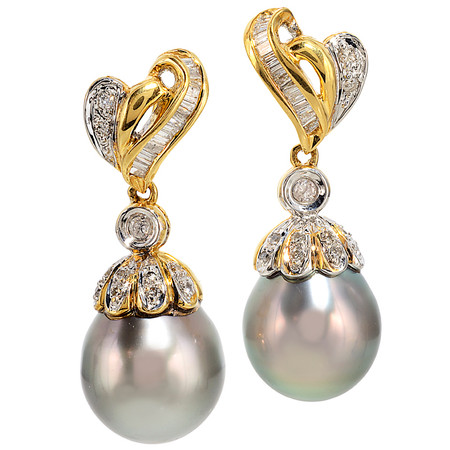 Post & wire back ; Cultured Tahitian Pearls ~ 11 mm diameter; Diamonds 0.51 cts - details below