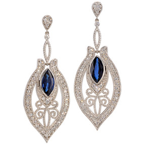Diamond and Sapphire Dangling Earrings in 18 KT White Gold