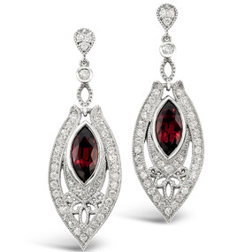 Post & Friction Back; Rhodolite Garnets 4.21 cts; Diamonds 1.61 cts - details below
