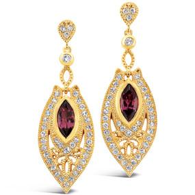 Post & Friction Back; Rhodolite Garnets 2.62 cts; Diamonds 1.44 cts - details below