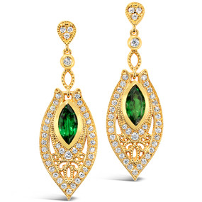 Post & Friction Back; Tsavorite Garnets 1.95 cts; Diamonds 1.19 cts - details below