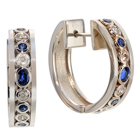 Hinged with post & catch; Sapphires 1.12 cts Diamonds 0.44 cts - details below