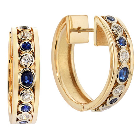 Hinged with post & catch; Sapphires 1.12 cts; Diamonds 0.44 cts - details below