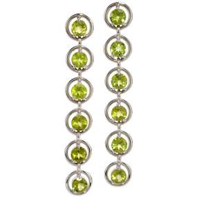 Peridot Dangling Earrings in 14 KT White Gold