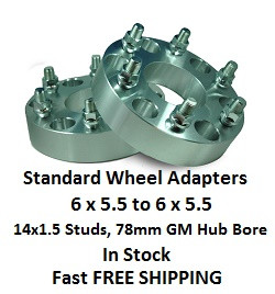 Wheel Adapters 6X5.5 to 6x5.5  (pair of 2) 14x1.5 GM, 78mm Hub Bore