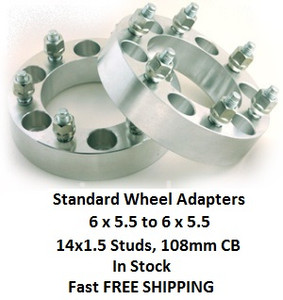 Wheel Adapters 6X5.5 to 6x5.5  (pair of 2) 14x1.5, 108mm Hub Bore
