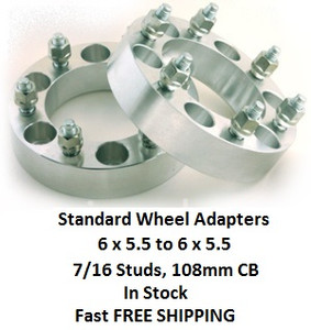 Wheel Adapters 6X5.5 to 6x5.5  (pair of 2) 7/16 Studs, 108mm Hub Bore