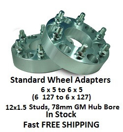 Wheel Adapters 6X5 to 6x5 (pair of 2) 12x1.5 GM, 78mm Hub Bore